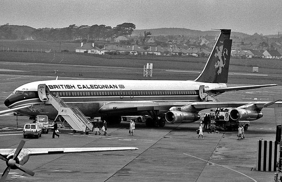 British Caledonian Boeing 707 shown at Prestwick International Airport, South Ayrshire, Scotland, c. 1972.