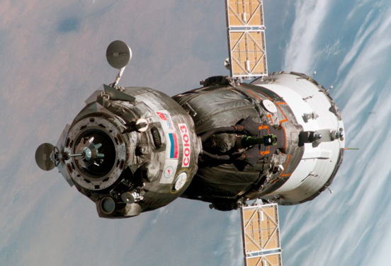 A Russian Soyuz bringing a crew to the ISS