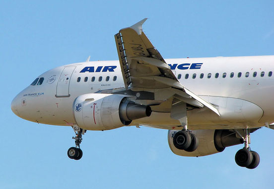 Airbus A318-100 of Air France landing at London Heathrow Airport, London, England. Click on the picture to see F-GUGJ on the wing undersurface, and the last two letters of the registration (GJ) on the nose wheel doors.