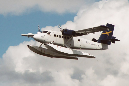A turboprop-engined DeHavilland Twin Otter adapted as a floatplane