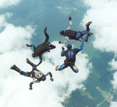 Skydivers in the free fall portion of a parachute jump.