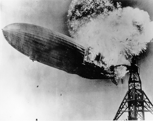 The Hindenburg — moments after catching fire, May 6, 1937
