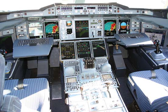 Airbus A380 cockpit. Most Airbus cockpits are computerised glass cockpits featuring fly-by-wire technology. The control column has been replaced with an electronic sidestick.