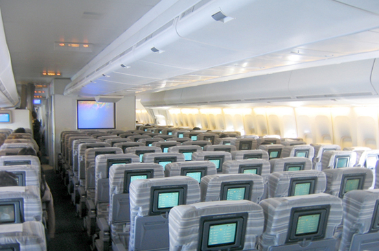 Boeing 747 main deck economy class seating in 3-4-3 layout