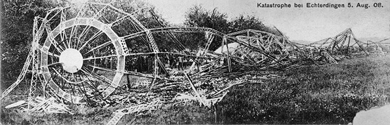 Wreckage of LZ 4. The LZ 4 was destroyed when a storm broke the zeppelin from its mooring, causing it to crash into a tree and catch fire.