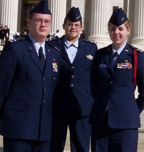 CAP Cadet Officers in Air Force-style service dress uniforms in 2004
