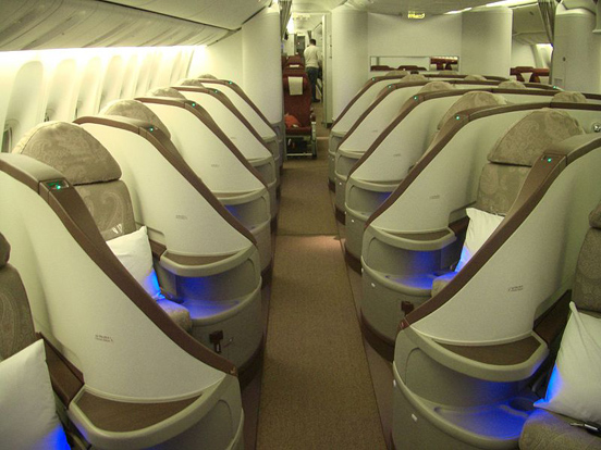 The Premium Class cabin of Jet Airways Boeing 777.