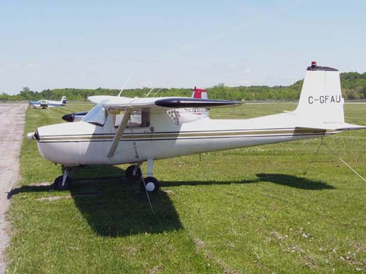 A 1965 Cessna 150E. The 1964 model 150D and the 150E introduced Omni-Vision rear windows on the Model 150