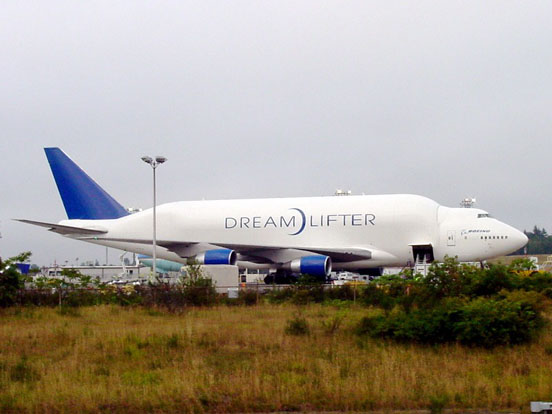Boeing 747 Large Cargo Freighter, also called Dreamlifter, is modified from 747s previously in airline use.