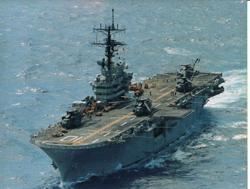 The Tripoli, a US Navy Iwo Jima class helicopter carrier