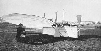 Gustave Whitehead with daughter Rose posing next to his aircraft Whitehead#21 - ca. 1901