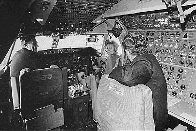 First Lady Pat Nixon visits the cockpit of the first commercial 747 during the christening ceremony, January 15, 1970.