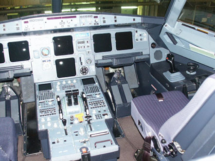 An Airbus A321 aircraft fly by wire cockpit.