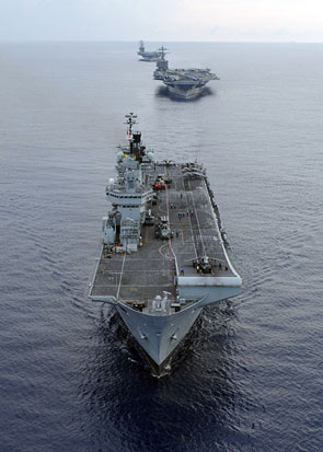 From foreground to background: HMS Illustrious, USS Harry S. Truman, and USS Dwight D. Eisenhower