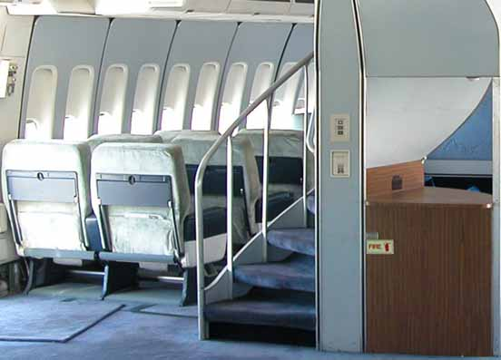 On the 747-100 and 747-200, a spiral staircase connected the main and upper decks