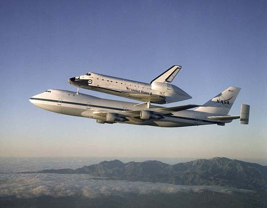 Space Shuttle Atlantis on a Shuttle Carrier Aircraft.