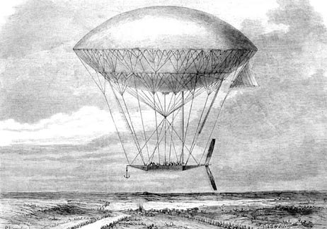 The navigable balloon developed by Dupuy de Lome in 1872.