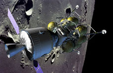 The proposed Crew Exploration Vehicle approaching the Moon