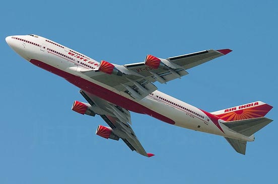 Air India Boeing 747-400. Founded by J. R. D. Tata as Tata Airlines in 1932.