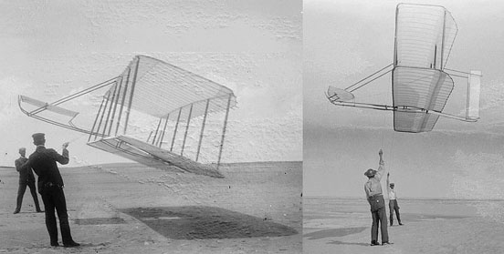 A Big Improvement At left, 1901 glider flown by Wilbur (left) and Orville. At right, 1902 glider flown by Wilbur (right) and Dan Tate, their helper. Dramatic improvement in performance is apparent. The 1901 glider flies at a steep angle of attack due to poor lift and high drag. In contrast, the 1902 glider flies at a much flatter angle and holds up its tether lines almost vertically, clearly demonstrating a much better lift-to-drag ratio.