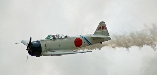 T-6 Texan converted to resemble a Mitsubishi A6M Zero as flown by the Commemorative Air Force's Tora! Tora! Tora! group