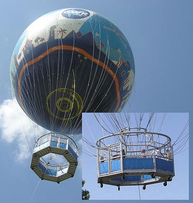 A tethered helium balloon gives the public rides to 500 feet (150 m) above the city of Bristol, England. The inset shows detail of the gondola.