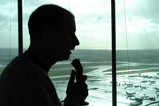 Air traffic controller at Amsterdam Airport Schiphol, Netherlands