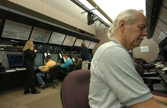 Controllers at work at the Washington Air Route Traffic Control Center.