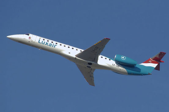 Embraer ERJ 145 in current livery of Flag airline carrier Luxair