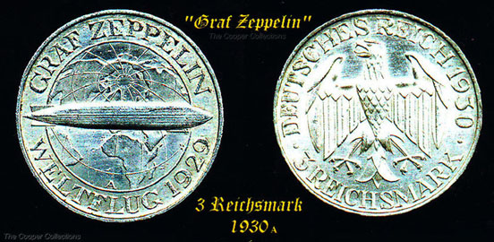 Silver 3 Reichsmark coin (1930 A) honoring the