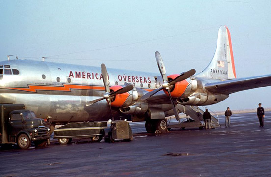 In October 1945, the American Export Airlines became the first airline to offer regular commercial flights between North America and Europe. Shown here is Am Ex Boeing 377 Stratocruiser in 1949.
