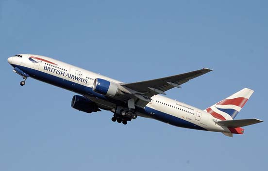 A jet-engined Boeing 777 taking off