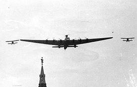 Tupolev ANT-20 Maxim Gorky, the largest airplane of the 1930s, was used for Stalinist propaganda.