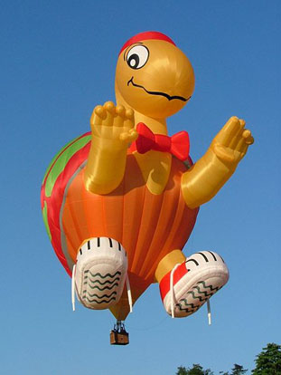 Hot air balloon shaped as a turtle