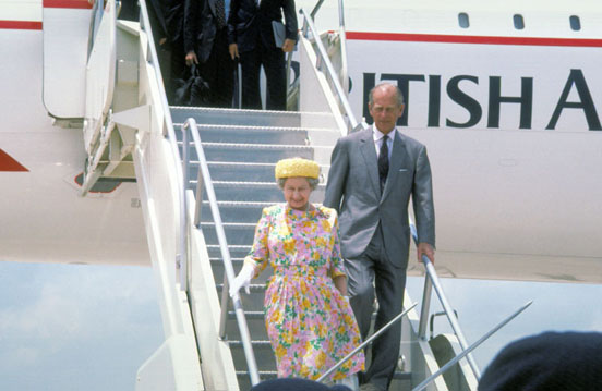 HM The Queen and HRH The Duke of Edinburgh disembark Concorde