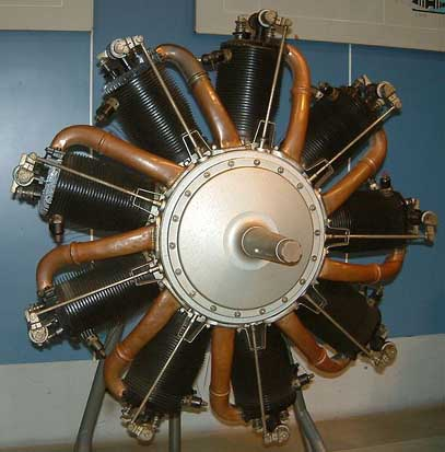Le Rhone 9C rotary aircraft engine.