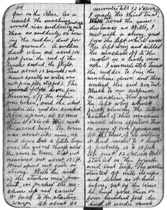 Orville's notebook entry of December 17, 1903