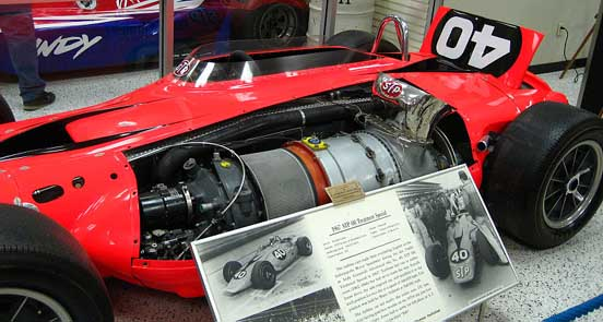 The 1967 STP Oil Treatment Special on display at the Indianapolis Motor Speedway Hall of Fame Museum, with the Pratt & Whitney gas turbine shown.