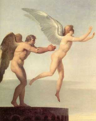 Illustration of mythological beings Icarus and Daedalus attempting to fly using wax wings.