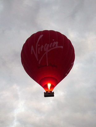 A Virgin hot air balloon flying over Cambridge