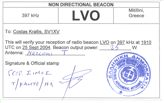 A PFC QSL card from an NDB