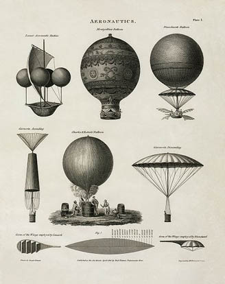 This 1818 technical illustration shows early balloon designs.