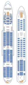 The A380-800 layout with 550 seats displayed