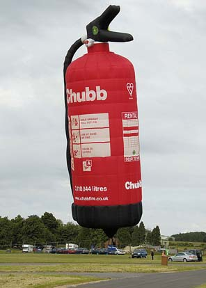 A special-shape hot air balloon - Chubb fire extinguisher