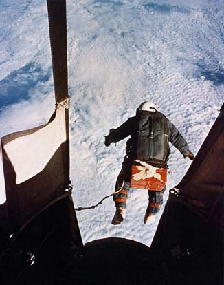 Joseph Kittinger starting his record-breaking skydive.