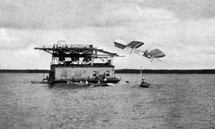 First failure of Langley's manned Aerodrome on the Potomac River, October 7, 1903