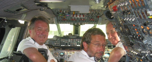 Mike Bannister (left) in the cockpit of BA002