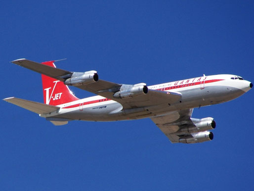 An ex-Qantas Boeing 707-138B, owned by John Travolta, repainted in vintage Qantas livery