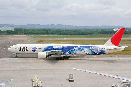 A Japan Airlines Boeing 777-300 with special Oneworld livery. Oneworld is the third largest airline alliance after Star Alliance and SkyTeam.