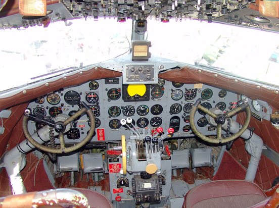 Cockpit of DC-3 operated by FAA to verify operation of navaids (VORs & NDBs) along federal airways